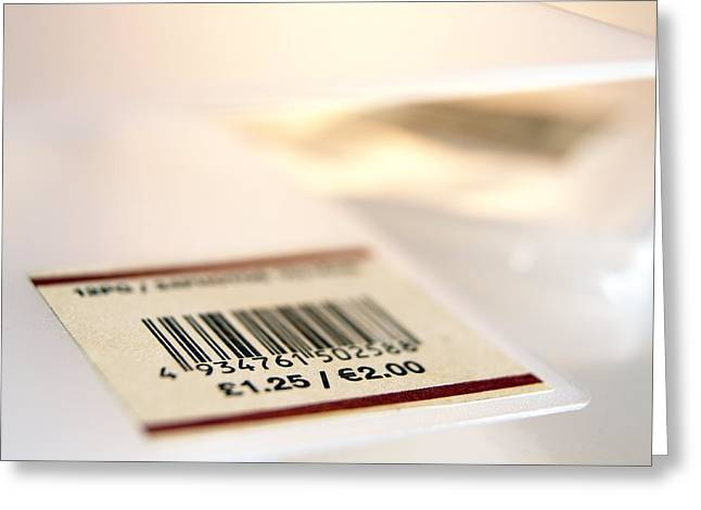 Gbp Greeting Cards - Barcoded Price Label Greeting Card by Adam Gault