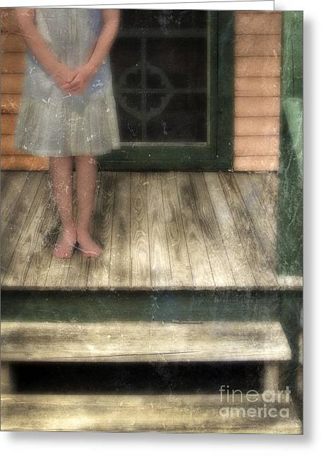 Screen Doors Greeting Cards - Barefoot Girl on Front Porch Greeting Card by Jill Battaglia