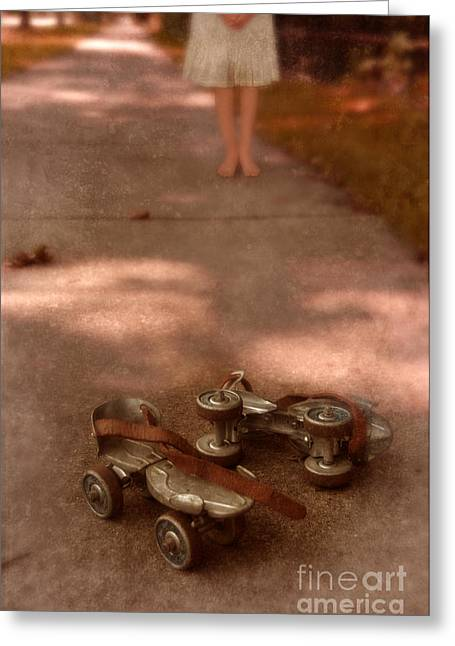 Sundress Greeting Cards - Barefoot Girl on Sidewalk with Roller Skates Greeting Card by Jill Battaglia