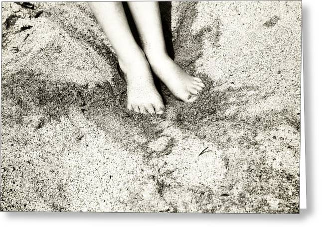 barefoot in the sand Greeting Card by Joana Kruse