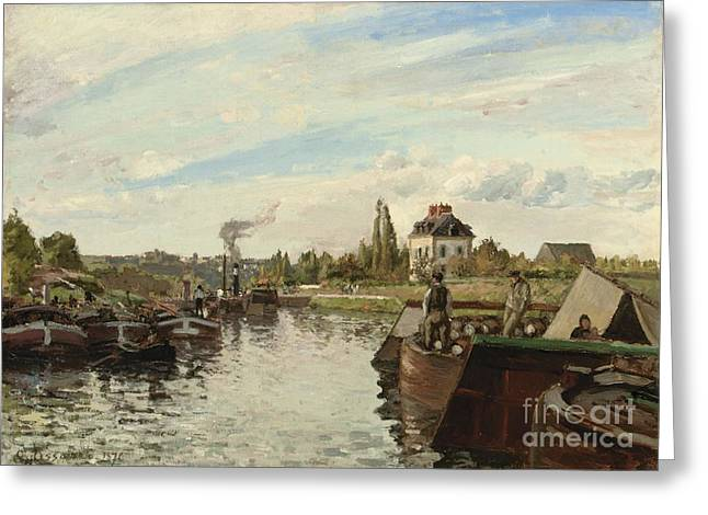 Boats At Dock Greeting Cards - Barge on the Seine at Bougival Greeting Card by Camille Pissarro