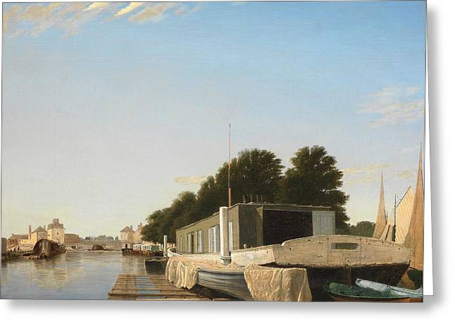 Barges at a Mooring Greeting Card by Unknown