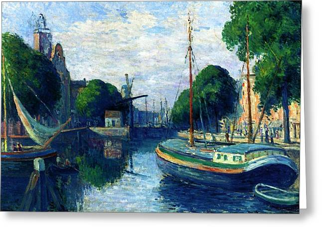 Barge Greeting Cards - Barges on a Canal at Rotterdam Greeting Card by Maximilien Luce