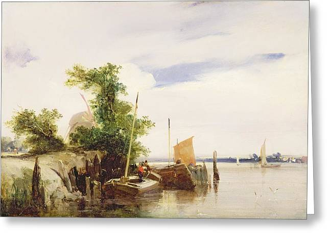 Barges on a River Greeting Card by Richard Parkes Bonington