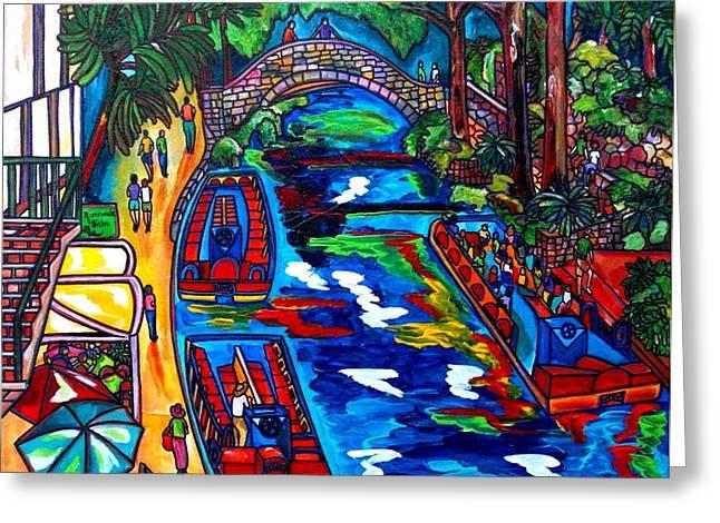 Riverwalk Greeting Cards - Barges On The Riverwalk Greeting Card by Patti Schermerhorn