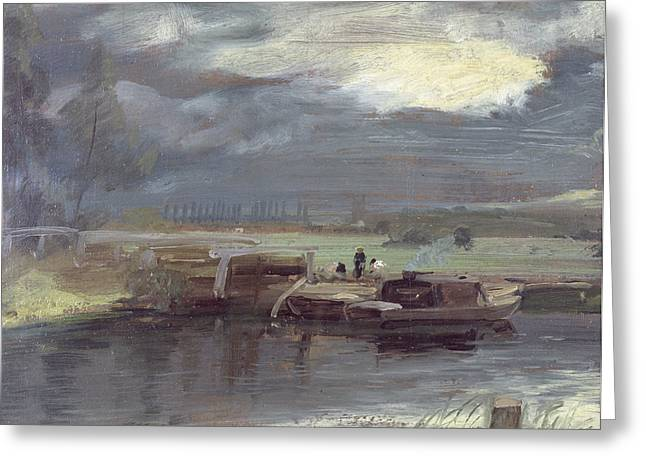 Barge Greeting Cards - Barges on the Stour with Dedham Church in the Distance Greeting Card by John Constable