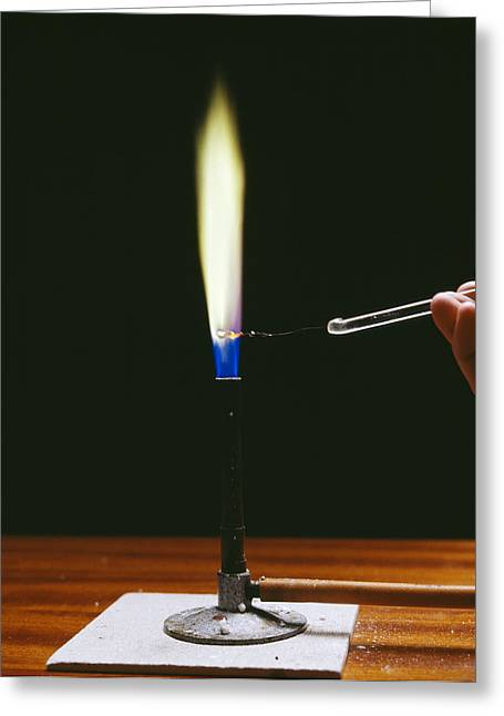 Flame Test Greeting Cards - Barium Flame Test Greeting Card by Andrew Lambert Photography