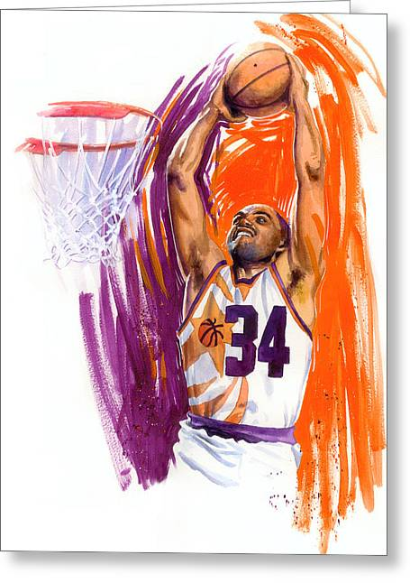Dunking Paintings Greeting Cards - Barkley Greeting Card by Ken Meyer jr