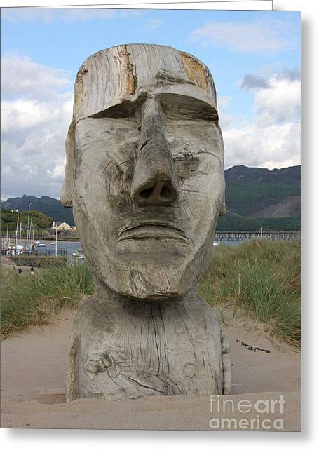 Wooden Sculpture Greeting Cards - Barmouth man Greeting Card by Ed Lukas
