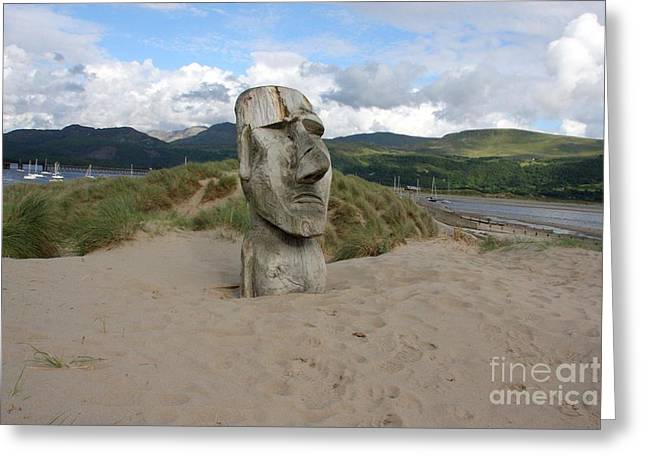 Wooden Sculpture Greeting Cards - Barmouth watcher Greeting Card by Ed Lukas