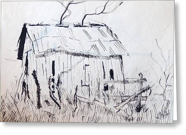Barn Pen And Ink Greeting Cards - Barn 1 Greeting Card by Rod Ismay