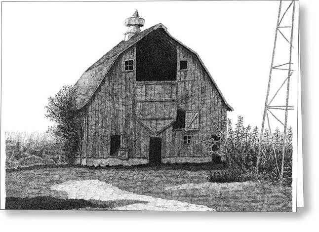 Barn Pen And Ink Greeting Cards - Barn 10 Greeting Card by Joel Lueck