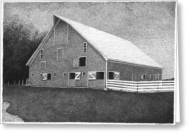 Old Barn Drawing Greeting Cards - Barn 11 Greeting Card by Joel Lueck