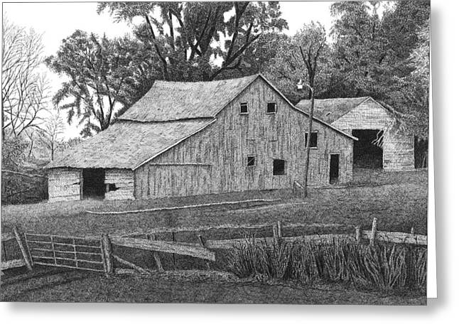 Old Barns Drawings Greeting Cards - Barn 14 Greeting Card by Joel Lueck
