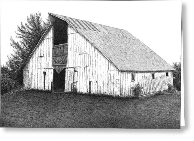 Old Barn Pen And Ink Greeting Cards - Barn 16 Greeting Card by Joel Lueck