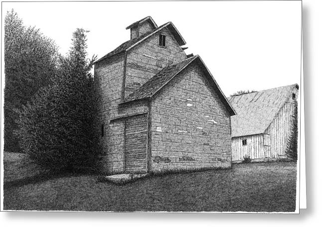 Old Barn Pen And Ink Greeting Cards - Barn 18 Greeting Card by Joel Lueck