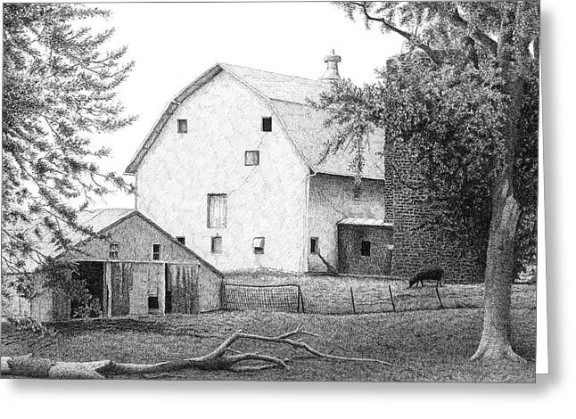 Old Barns Drawings Greeting Cards - Barn 23 Greeting Card by Joel Lueck