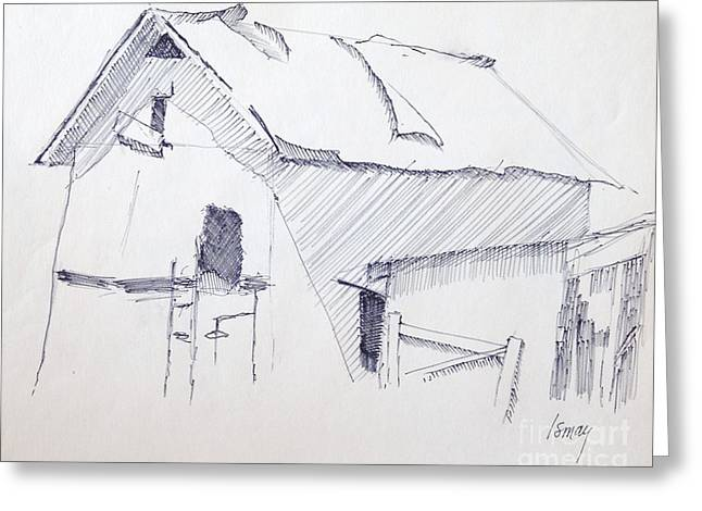 Barn Pen And Ink Drawings Greeting Cards - Barn 3 Greeting Card by Rod Ismay