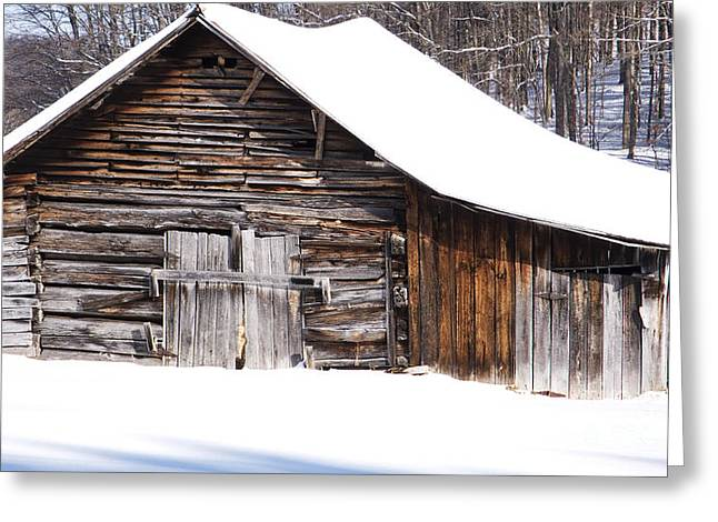 West Virginia Snow Scene Greeting Cards - Barn along Coon Creek Road Greeting Card by Thomas R Fletcher
