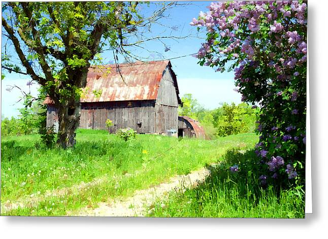 Cheryl Cencich Greeting Cards - Barn and Lilacs Greeting Card by Cheryl Cencich