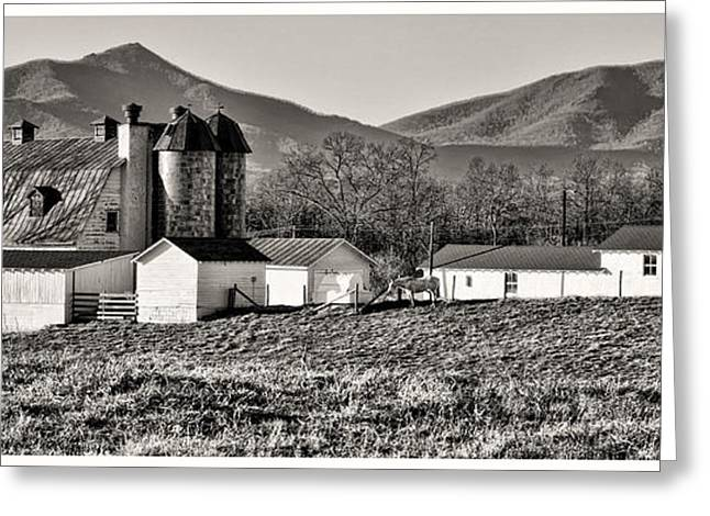 Sheds Greeting Cards - Barn and Mountain Range Greeting Card by Steve Hurt