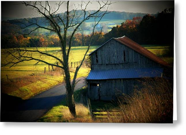 Mountain Road Greeting Cards - Barn and Road Greeting Card by Michael L Kimble
