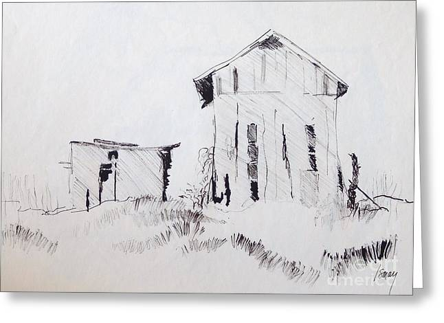 Barn Pen And Ink Drawings Greeting Cards - Barn and Shed Greeting Card by Rod Ismay