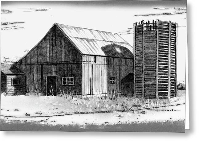 Old Barn Drawing Greeting Cards - Barn And Silo Distressed Version Greeting Card by Joyce Geleynse