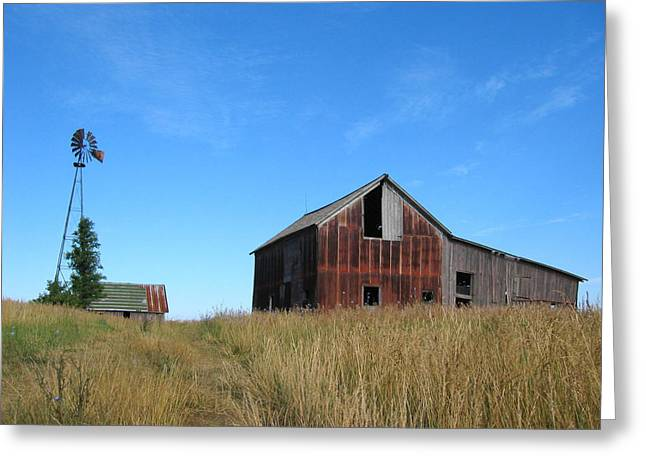 Illinois Barns Photographs Greeting Cards - Barn and Windmill Greeting Card by Dylan Punke