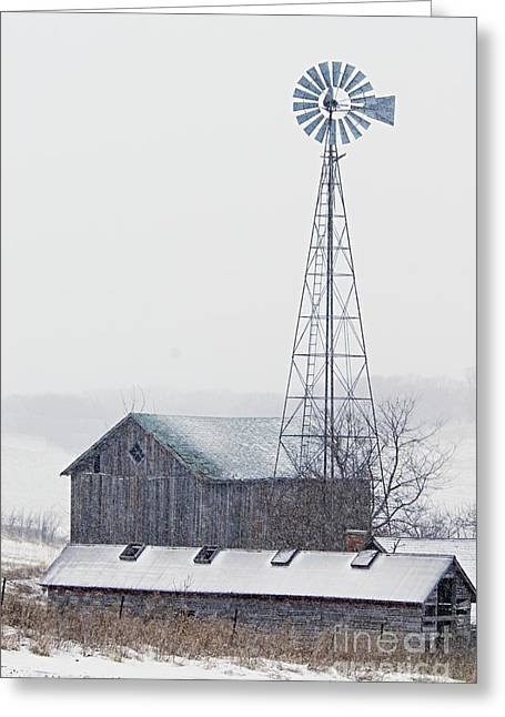 Barn And Windmill In Snow Greeting Card by Larry Ricker