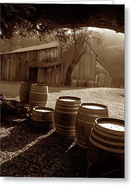 Kathy Yates Photography. Greeting Cards - Barn and Wine Barrels 2 Greeting Card by Kathy Yates
