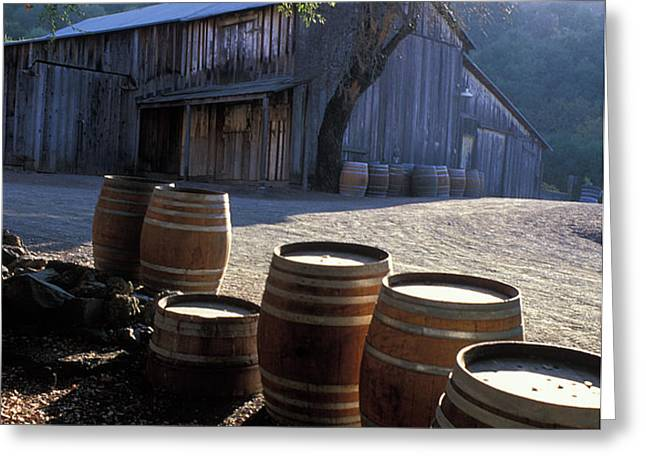Barn and Wine Barrels Greeting Card by Kathy Yates