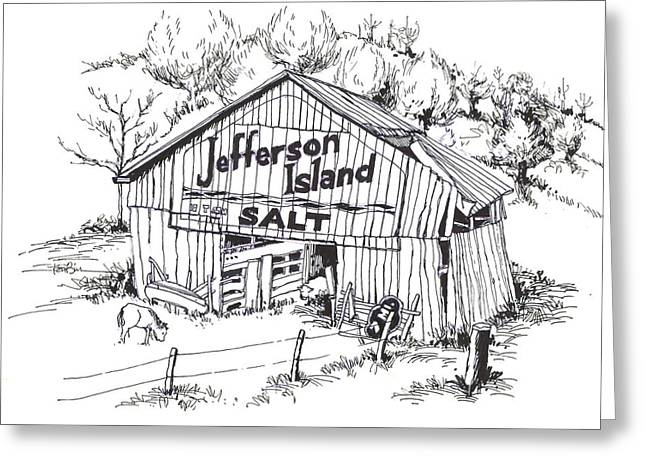 Tennessee Barn Drawings Greeting Cards - Barn in Midwest - Jefferson Island Salt Greeting Card by Robert Birkenes