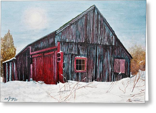 barn in snow southbury ct Greeting Card by Stuart B Yaeger