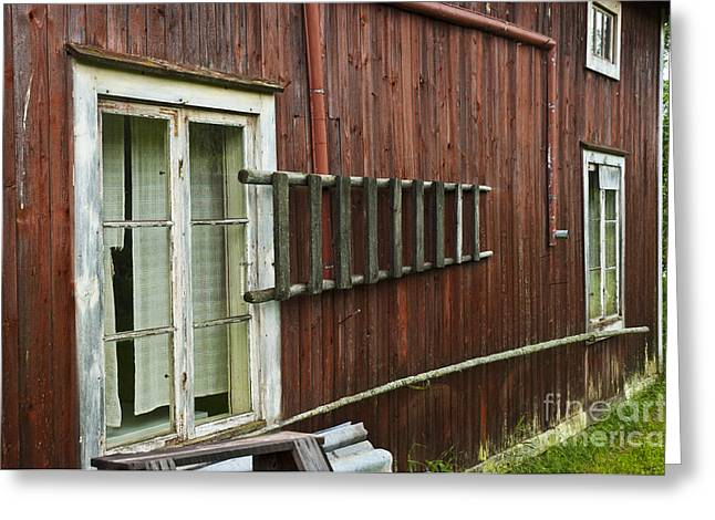 Recently Sold -  - Glass Wall Greeting Cards - Barn in Sweden Greeting Card by Micah May