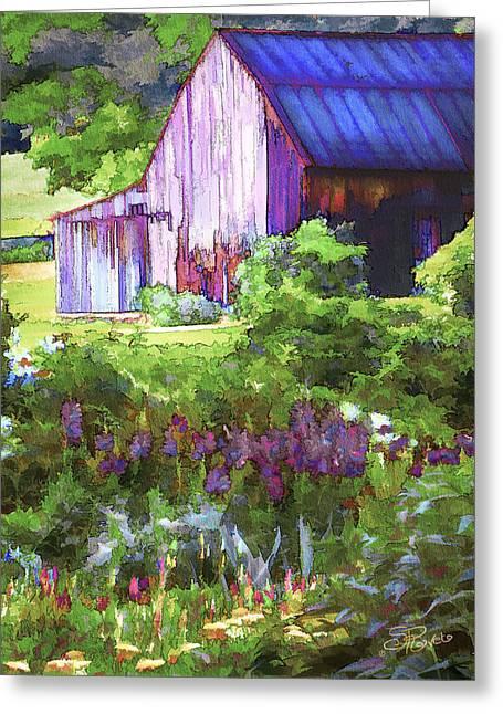 Barn Digital Art Greeting Cards - Barn In The Hollow Greeting Card by Suni Roveto