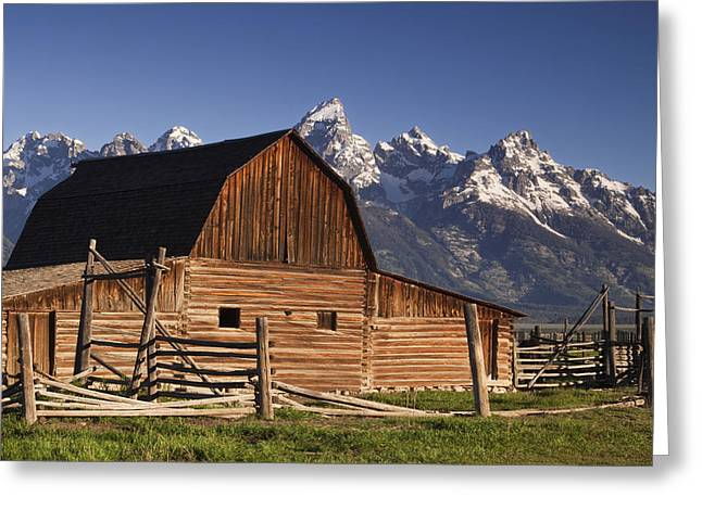 Tetons Greeting Cards - Barn in the Mountains Greeting Card by Andrew Soundarajan
