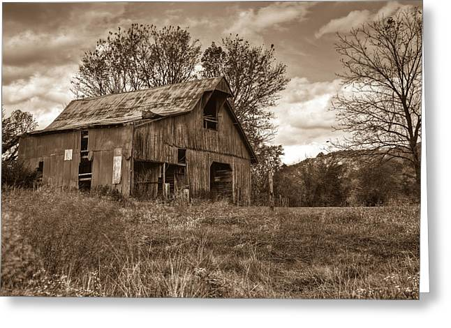 Turbulent Skies Photographs Greeting Cards - Barn in Turbulent Sky Greeting Card by Douglas Barnett