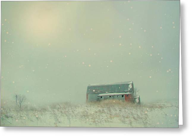 Barn Digital Art Greeting Cards - Barn In Winter Greeting Card by Gothicolors Donna Snyder