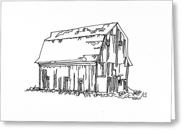 Barn Pen And Ink Greeting Cards - Barn No.18 Greeting Card by Rob Loflin