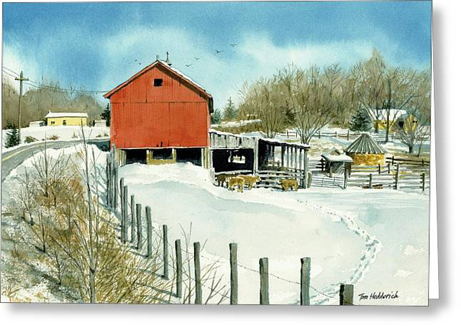 Winter Prints Paintings Greeting Cards - Barn on County 12 Greeting Card by Tom Hedderich