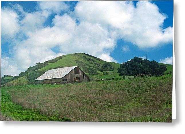 Landscape Framed Prints Greeting Cards - Barn on the Hill Greeting Card by Kathy Yates