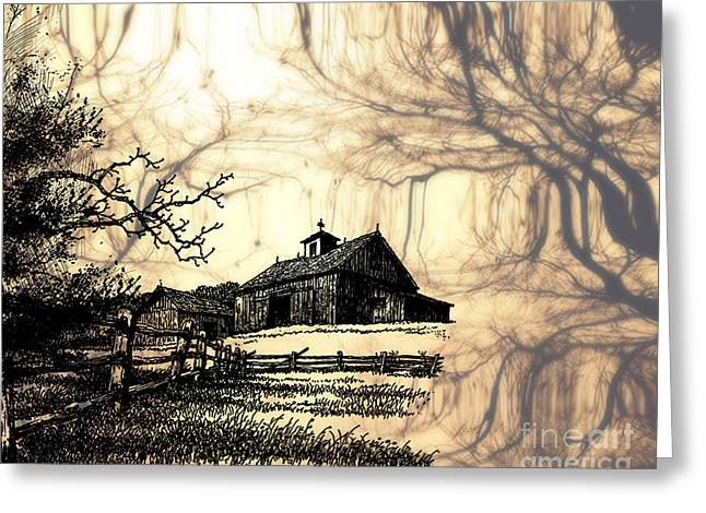 Pen And Ink Drawing Photographs Greeting Cards - Barn Out Back 2 Greeting Card by Cheryl Young