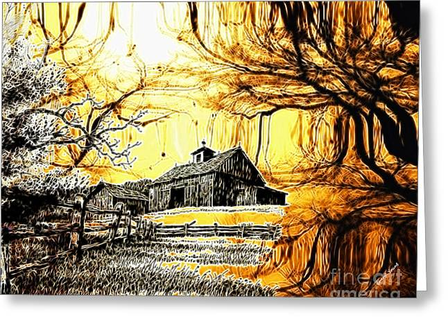 Old Barn Drawing Greeting Cards - Barn Out Back Greeting Card by Cheryl Young