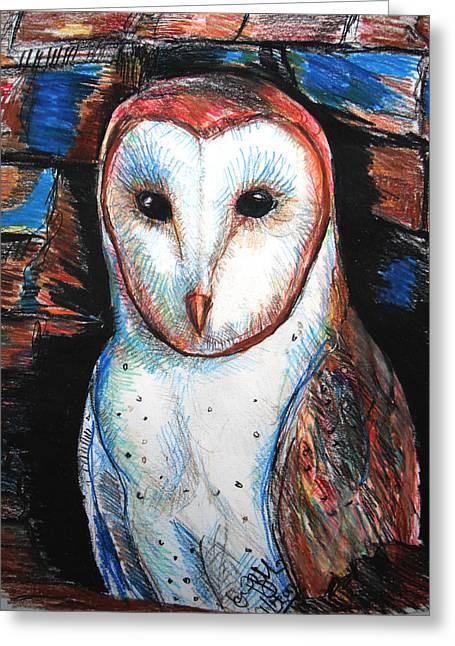 Old Barn Drawing Greeting Cards - Barn Owl  Greeting Card by Jon Baldwin  Art