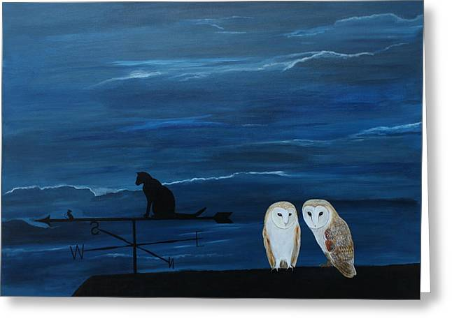Barn Owls And Weathervane Greeting Card by Robert Harris