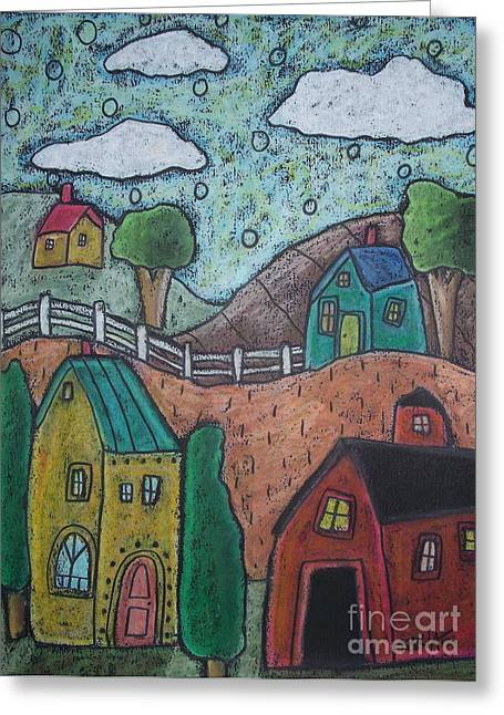 Oil Pastels Pastels Greeting Cards - Barn Scene Greeting Card by Karla Gerard