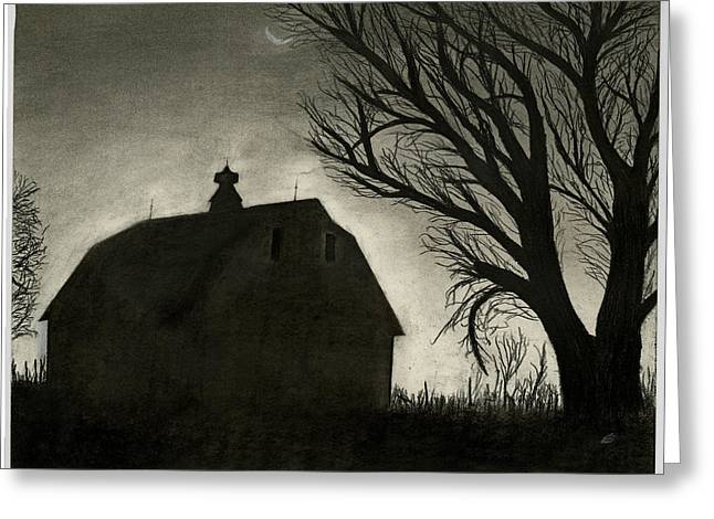 Fineartamerica Drawings Greeting Cards - Barn Sillouette Greeting Card by Bryan Baumeister