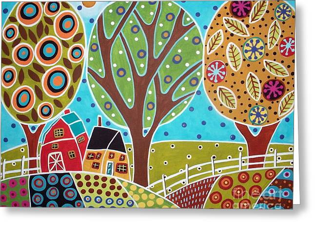 Primitives Greeting Cards - Barn Trees And Garden Greeting Card by Karla Gerard