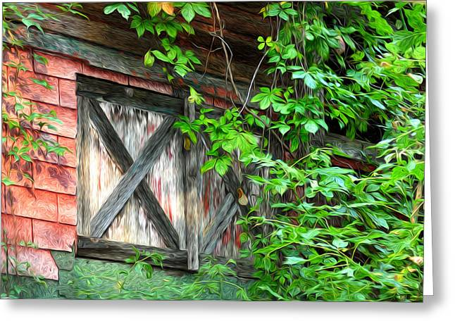 Overgrown Greeting Cards - Barn Window Greeting Card by Bill Cannon